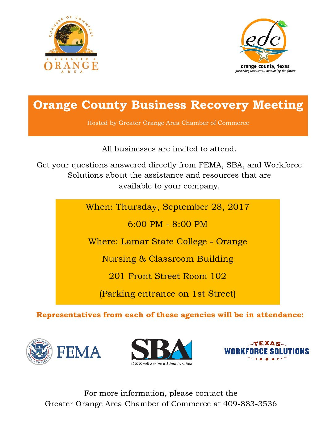 Orange County Business Recovery Meeting