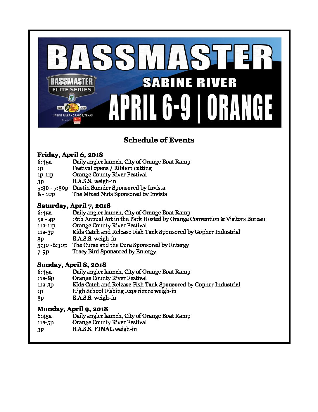 Bassmaster Elite & Orange County River Festival Schedule of Events